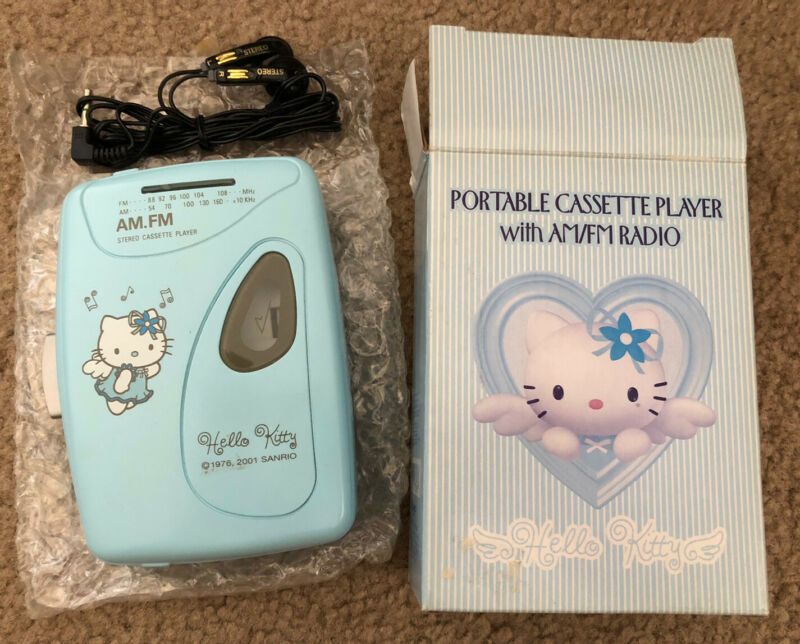 Vintage Sanrio Hello Kitty Blue Walkman Cassette Player NIB