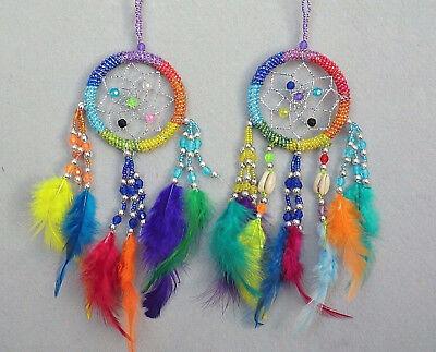 Farbe Träume (2 er Set Dreamcatcher Traumfänger Kauri Träume Rainbow Regenbogen Chakra Farben)