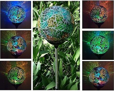 (Solar Powered Mosaic Glass Ball Garden Stake Lamp Color Change Yard LED Light)