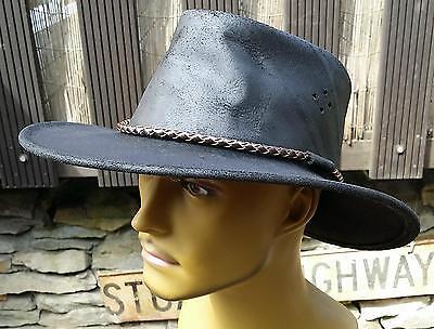 Hut Australien (Leder Hut Outback Australien geöltes dickes Leder  schwarz  M L XL)