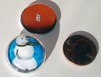 """Traditional Snowman 1"""" Glass Dome Button collectible shank style sew or pin on"""
