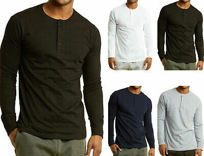 Men's Long Sleeve Henley 3 Button Pullover Cotton T-Shirt Cr