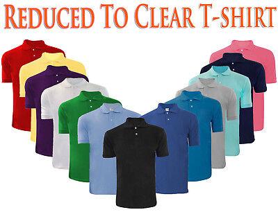 Mens T Shirts Pique Polo Shirt Plain Polycotton T-Shirts Tops Multi-Color S-5XL