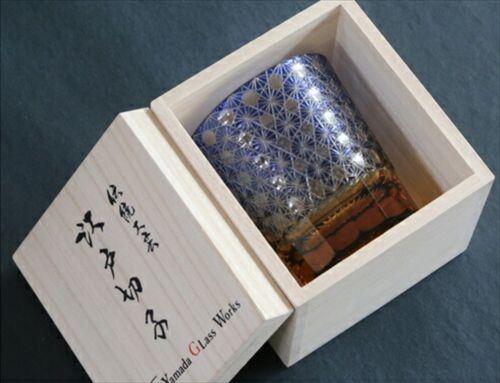 Edo kiriko crystal glass chrysanth ruri blue Yamada Craft man work Japanese New
