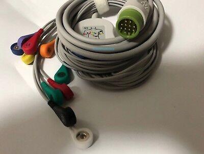 2pcs Physio Control Lifepak Ecg Ekg Cable 10leads Snap Compatible Lifepack1215