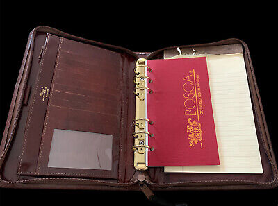 Bosca Brown Planner Note Pad Writing Leather Journal Vintage Preowned