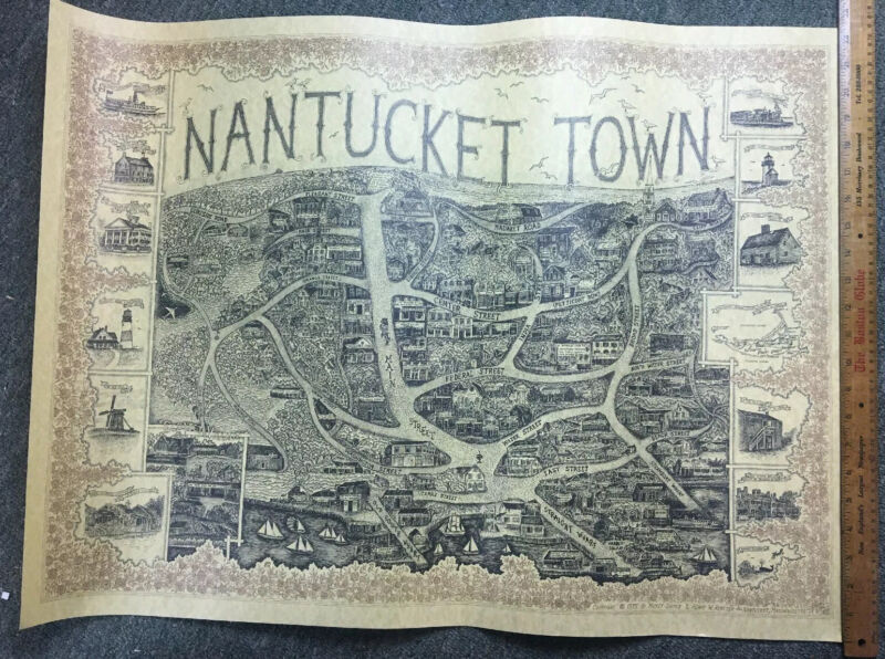 Vintage 1973 Pictorial Map NANTUCKET Town Mikey Shemin Henry W Royster Sconset
