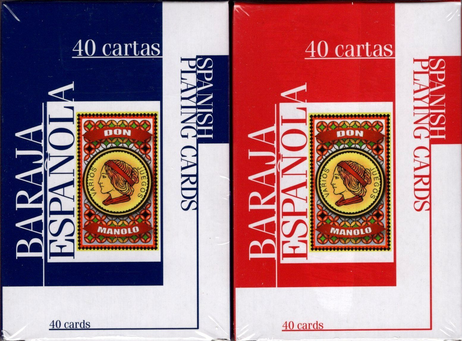naipes Spanish Traditional Design Smooth Plastic Coated Playing Cards Don Manolo Blue Deck