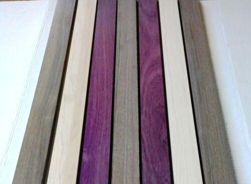 """3/4"""" x 2"""" x 16"""" - 2 PURPLEHEART 3 Walnut 2 Hard Maple 7 Pack Cutting Wood Boards"""