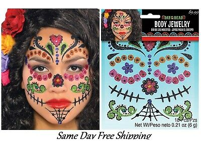 Day of the Dead Face Jewelry Makeup Kit Cosplay Dress Up Día de Muertos fnt 18pc - Day Of The Dead Face Makeup