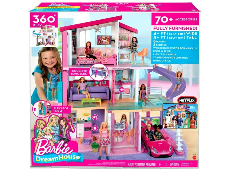 SEALED  Barbie Estate DreamHouse Doll House Playset with 70+ Toys Accessories