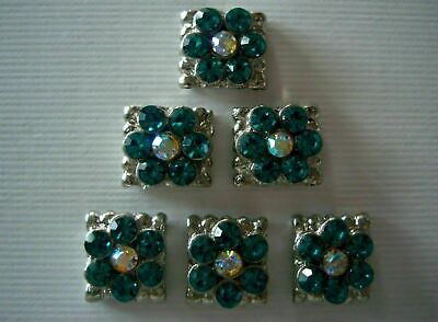 - 2 Hole Slider Beads Daisy Square Teal/AB Made With Swarovski  Elements #6
