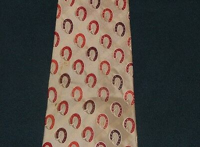 Men's Vintage Gucci Beige, Red & Brown Tie 100% Silk Made in Italy