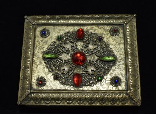 Wow! GORGEOUS Antique Brass *JEWELED ORMOLU* Casket Trinket JEWELRY Vanity Box