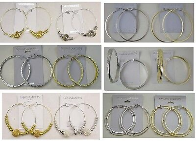 A-003    Wholesale Lot 10 Pair Large Hoop Earrings Gold and Silver Plated (Gold Flatware Wholesale)