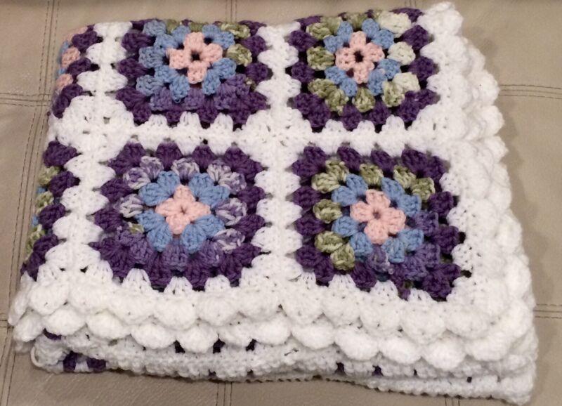 Vtg Crochet Knitted Afghan Baby Blanket Granny Squares Pastel Purple Pink