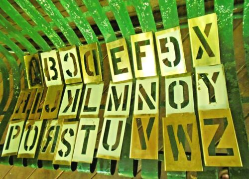 "Vintage Adjustable 6"" Brass Stencils w/4"" Lockedge Letters, Number Punctuation"