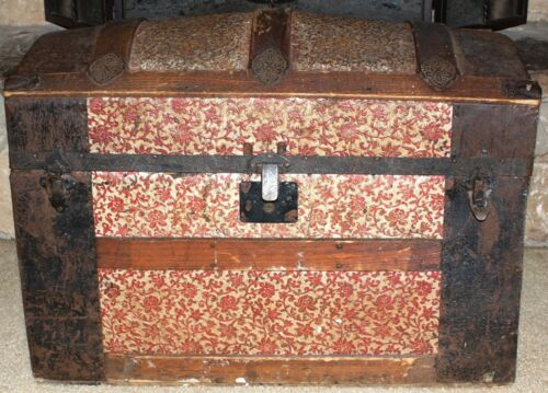 Antique Steamer Trunk - Dome Top - Wood / Pressed Tin with Wheels