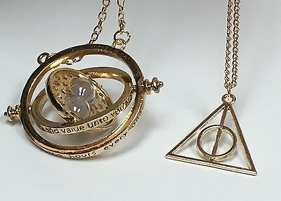 Harry Potter Time Turner Necklace   Gold Deathly Hallow Charm Pendant Necklace