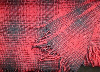 Wool Plaid, Wool Blanket Bedspread 130x170cm, Merino Wool, Redblack