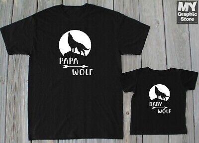 Papa Baby Matching T-Shirts Father Son Family Wolf Birthday Christmas Gift (Beast Boy Birthday)