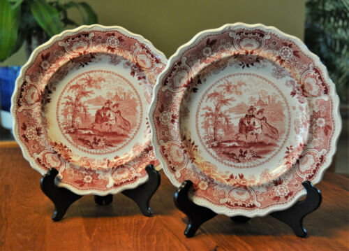 Pair of Antique Staffordshire Red Transferware Pearlware Plates Adams Andalusia
