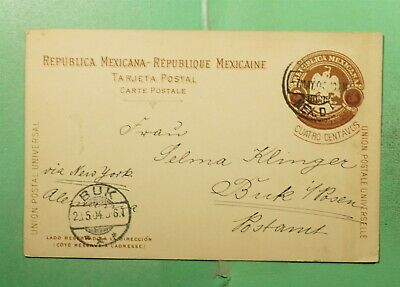 DR WHO 1904 MEXICO POSTAL CARD TO GERMANY  g20792