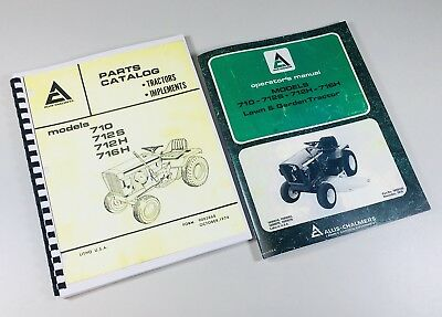 Lot Allis Chalmers Operators Parts Manual 710 712s 712h 716h Lawn Garden Tractor