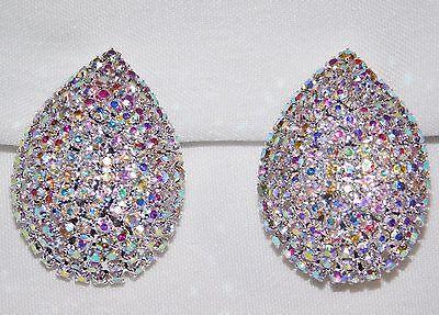 Iridescent Crystal - BRIDAL SILVER W.AB IRIDESCENT RHINESTONE CRYSTAL CLIP EARRINGS