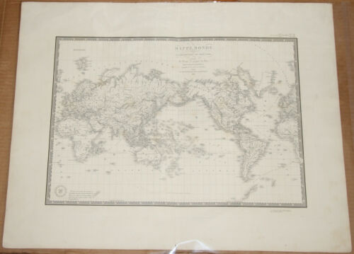 "Original 1836 World Projection - Brue Atlas 26"" x 21"" Huge map - Antique"