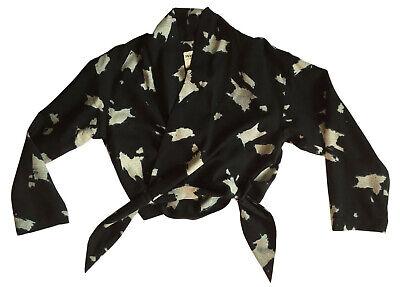 Vtg ISSEY MIYAKE PLANTATION Womens Sz S Printed Wool Jacket / Wrap Waist Closure