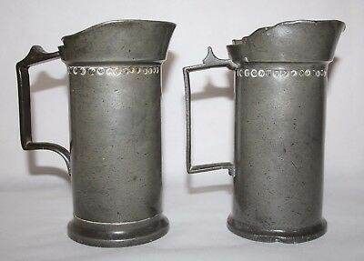 A. Leynders, Delft - Antique Pair of Dutch Pewter Half Litre Measures