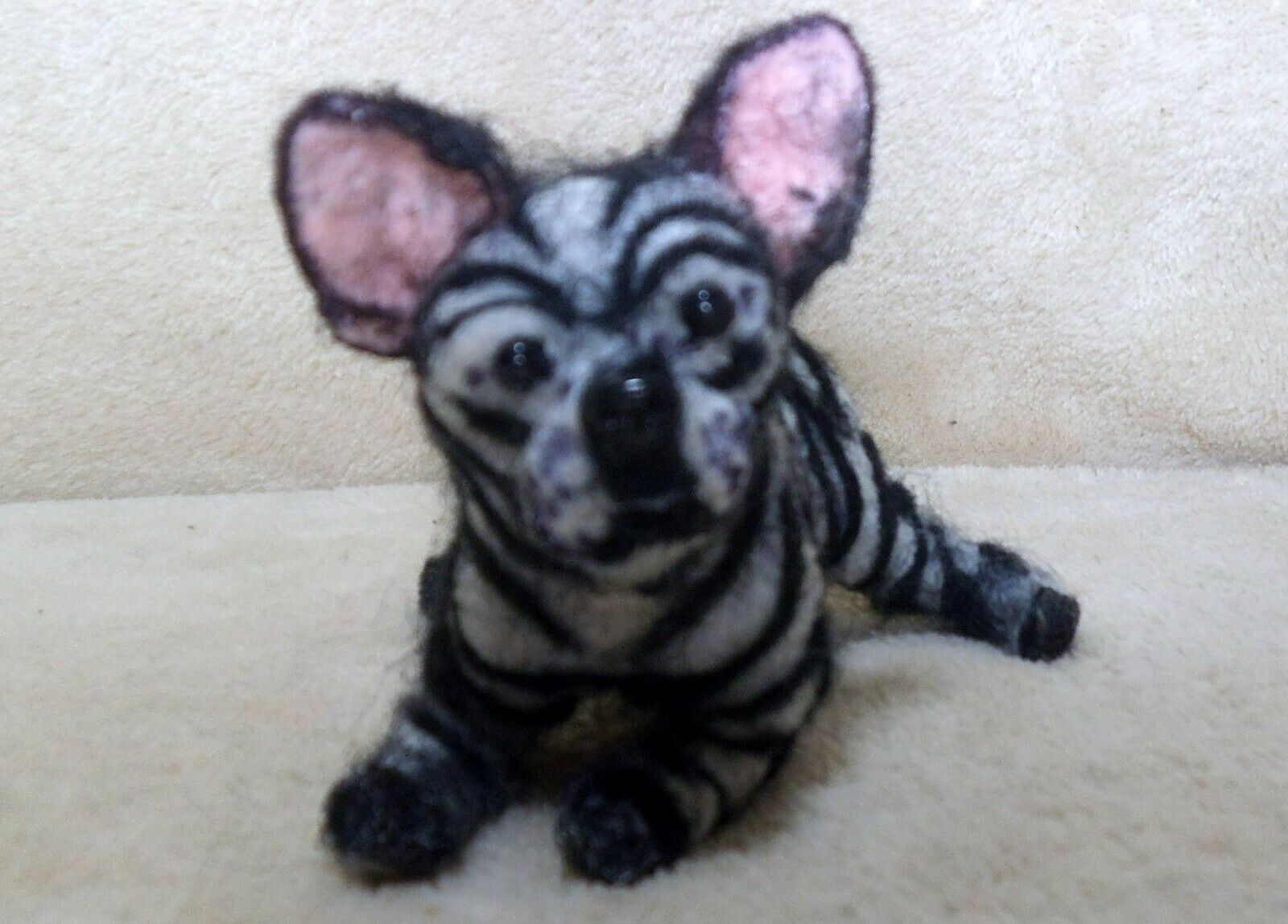 OOAK Needle Felted Artist Handcraft/handmade Dog French Bull Dog With Zebra Coat - $31.00