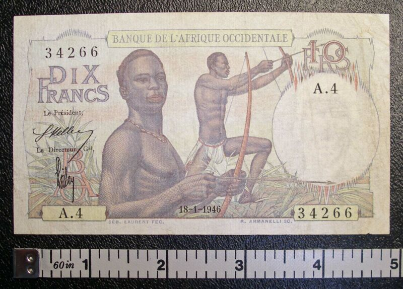 1946 French West Africa 10 Francs P-37 banknote CIRCULATED