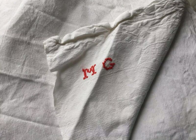 Antique French Country Cotton Bed Sheet Queen White Fabric Red Monogram Heavy