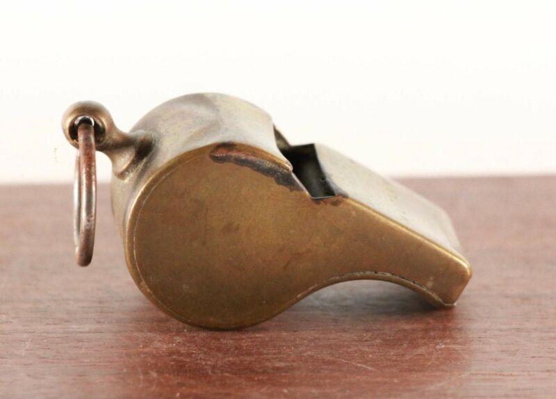 Vintage Unique Brass Military Whistle. Cork Ball