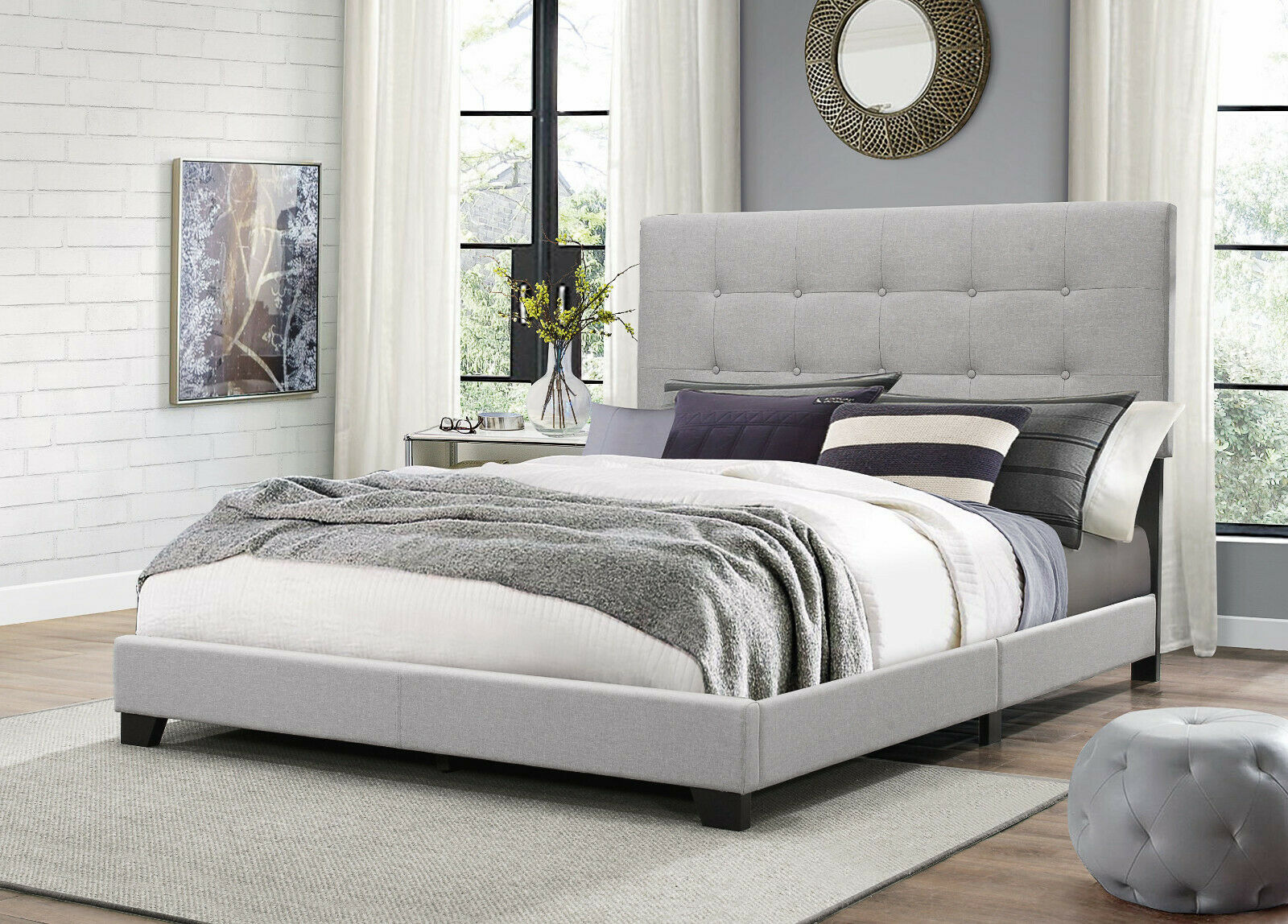 Eastern King Size Bed Silver Faux Leather Tufted Wood Frame Bedroom Headboard For Sale Online Ebay