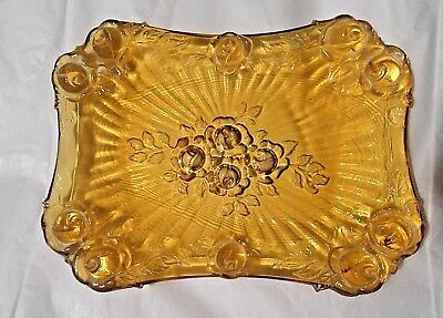 Gorgeous Genuine Antique Roses Pattern Pressed Amberina Glass Boudoir Tray Dish