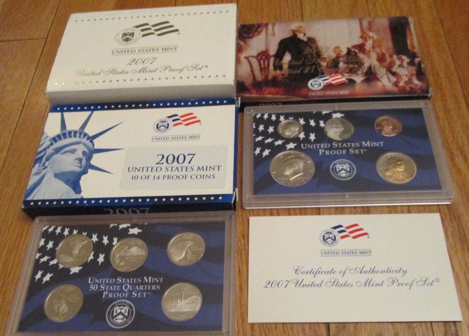 2007 Proof Set U. S. Mint 14 Coin Set State Quarters President Dollar COA  - $20.90
