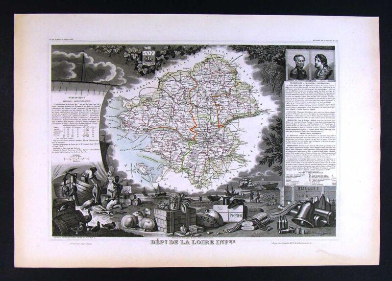 1852 Levasseur France Map - Department de Loire Inférieure - Atlantique Nantes