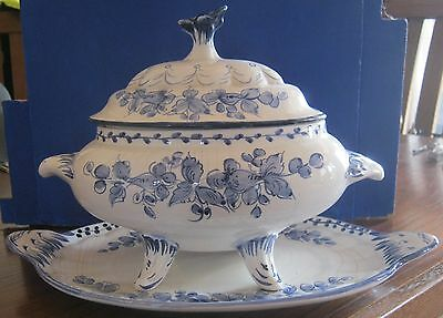 Vintage Pereiras Blue and White Hand Painted Tureen with Under Plate - Portugal