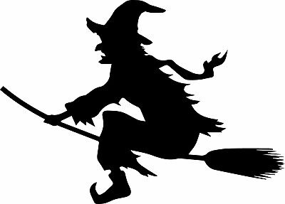 Window Wall  Display Halloween Silhouette Decal Vinyl Sticker Witch Broomstick - Halloween Silhouette Stickers