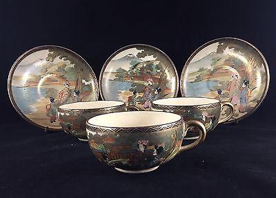 Stunning Antique Japanese Satsuma Tea Set 6 piece Tea Cup and Saucer