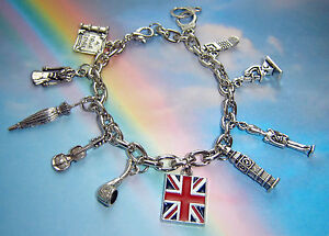 SHERLOCK HOLMES THEMED CHARMS BRACELET MYSTERY DETECTIVE LONDON PIPE VIOLIN