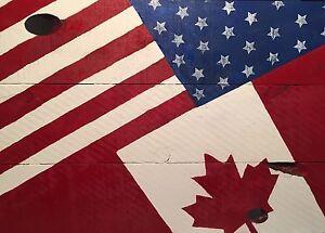 Wood Canadian & American Flag