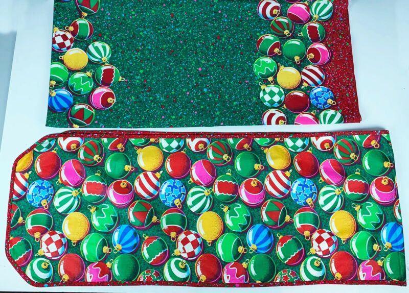 Christmas Table Cloth and Runner Red Green Vintage Ornament Mid Century Modern