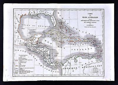 1830 Langlois Atlas Map - West Indies Antilles Caribbean Cuba Jamaica Bahamas