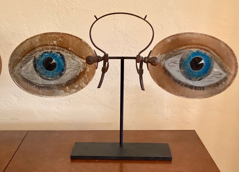 Antique Rare Late 1800's Figurial Spectacles Trade Sign
