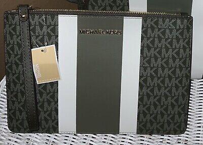Michael Kors Jet Set Travel Large Zip Clutch Wristlet Wallet Ivy Green