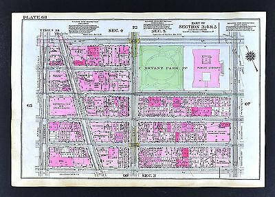 1921 New York City Map Broadway Times Square Theaters Opera Bryant Park (Bryant Park Broadway)